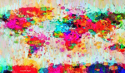 Silhouette Painting - World Map Abstract - Pa by Leonardo Digenio