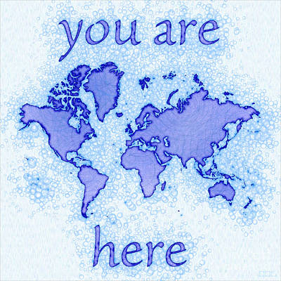 World Map Airy You Are Here In Blue And White Art Print by Eleven Corners