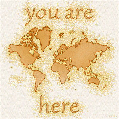 World Map Airy You Are Here In Brown And White  Art Print