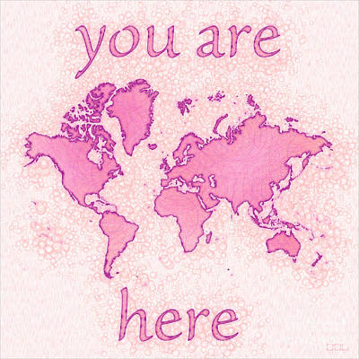 World Map Airy You Are Here In Pink And White Art Print by Eleven Corners