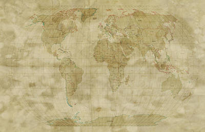 Panoramic Digital Art - World Map Antique Style by Michael Tompsett