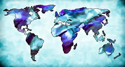 Photograph - World Map Aqua by Athena Mckinzie