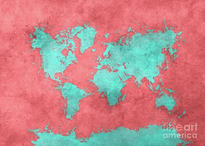 World Map Art 40 Art Print