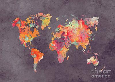 Map Of The World Digital Art - World Map Art 67 by Justyna JBJart