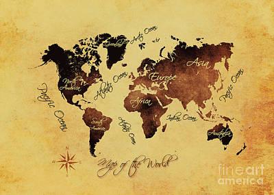 Map Of The World Digital Art - World Map Art 75 by Justyna JBJart