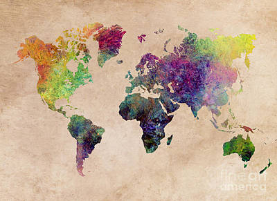 World Map Art Painting Art Print by Justyna JBJart