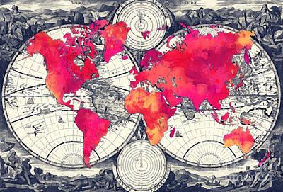 World Map Art Red Print by Justyna JBJart