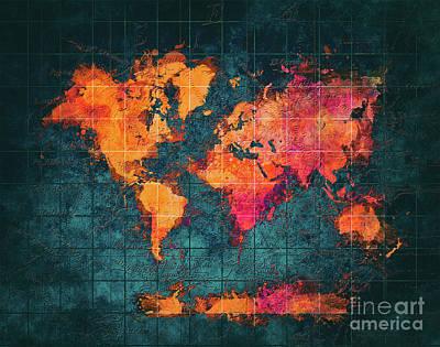 Map Of The World Digital Art - World Map Art Series by Justyna JBJart