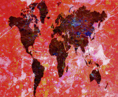 World Map B3 Art Print