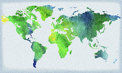 Painting - World Map Blue And Green Watercolor by Irina Sztukowski