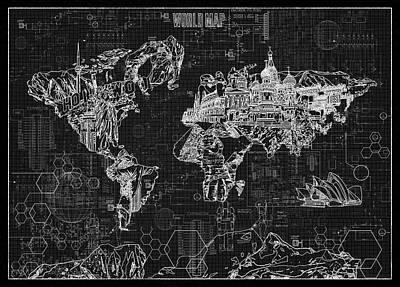 Pop Art Royalty-Free and Rights-Managed Images - World Map Blueprint 2 by Bekim Art