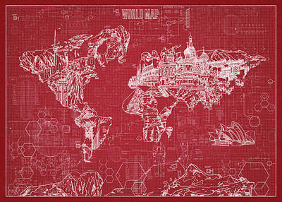 Digital Art - World Map Blueprint 3 by Bekim Art