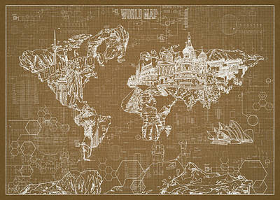 Digital Art - World Map Blueprint 4 by Bekim Art
