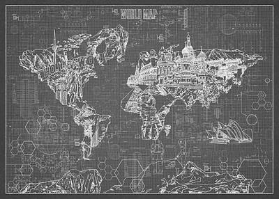 Pop Art Royalty-Free and Rights-Managed Images - World Map Blueprint 5 by Bekim Art