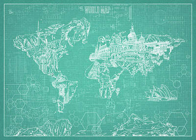 Digital Art - World Map Blueprint 7 by Bekim Art