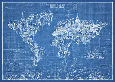 Digital Art - World Map Blueprint by Bekim Art