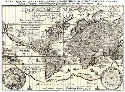 World Map By Matthaus Merian. Art Print by John Maletski