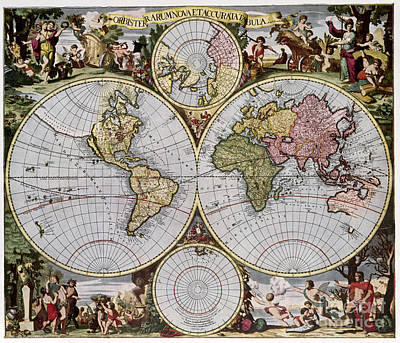 Photograph - World Map, C1690 by Granger