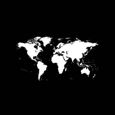 Digital Art - World Map - Chalkboard Black by Marianna Mills