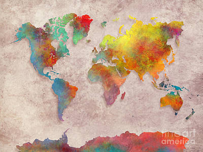 World Map Colored  Print by Justyna JBJart