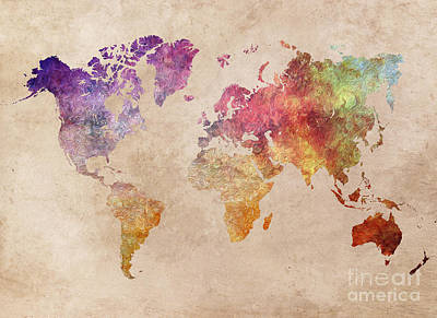 World Map Colored Painting Art Print by Justyna JBJart