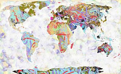 Library Digital Art - World Map Colors by Suren Nersisyan