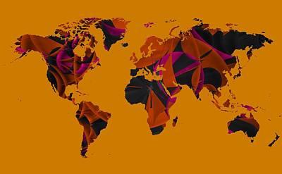 Contemporary Digital Art - World Map Composition by Alberto RuiZ