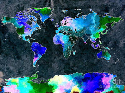 America The Continent Mixed Media - World Map Dark Grunge by Daniel Janda