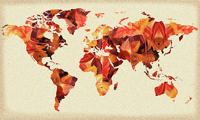 Photograph - World Map Fall Silhouette by Irina Sztukowski