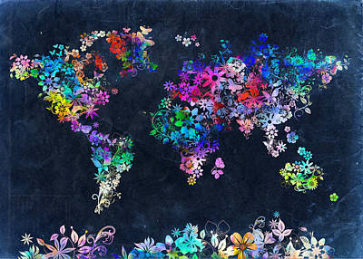Vintage Map Digital Art - World Map Floral 10 by Bekim Art