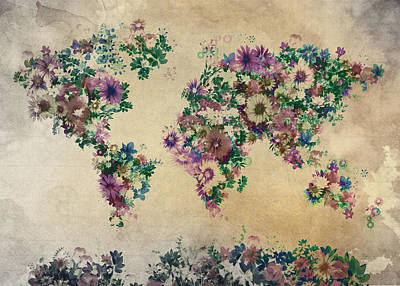 Vintage Map Digital Art - World Map Floral 12 by Bekim Art