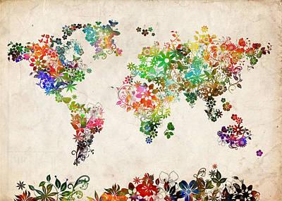 Abstract Map Digital Art - World Map Floral 2 by Bekim Art