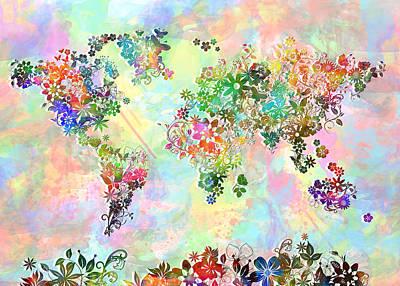 Abstract Map Digital Art - World Map Floral 3 by Bekim Art