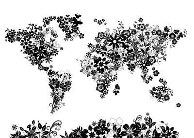 Abstract Map Digital Art - World Map Floral 5 by Bekim Art