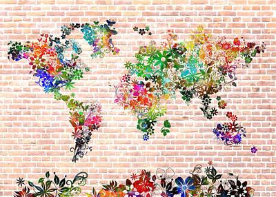 Abstract Map Digital Art - World Map Floral 6 by Bekim Art