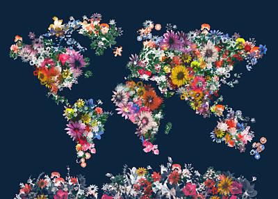Abstract Map Digital Art - World Map Floral 7 by Bekim Art