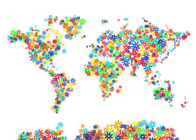 Lucille Ball - World Map Floral  by Bekim M