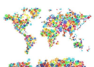 Abstract Map Digital Art - World Map Floral  by Bekim Art