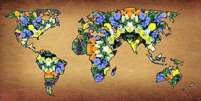 World Map Flower Mandala Original