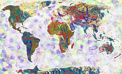 Library Digital Art - World Map Fluid Paints by Suren Nersisyan