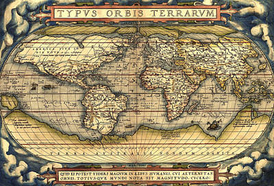 World Map From The Theatrum Orbis Terrarum 1570 Print by Pg Reproductions