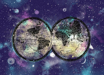 World Map Galaxy 1 Art Print
