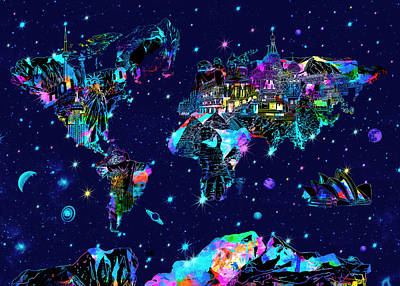 World Map Galaxy 10 Art Print