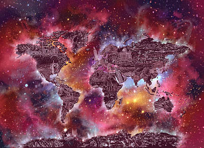 World Map Galaxy 3 Art Print