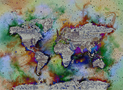 World Map Galaxy 4 Art Print