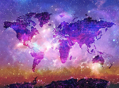 World map wallpaper digital art fine art america world map wallpaper digital art world map galaxy 8 by bekim art gumiabroncs Image collections