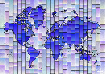 Digital Art - World Map Glasa Blue And Purple by Eleven Corners