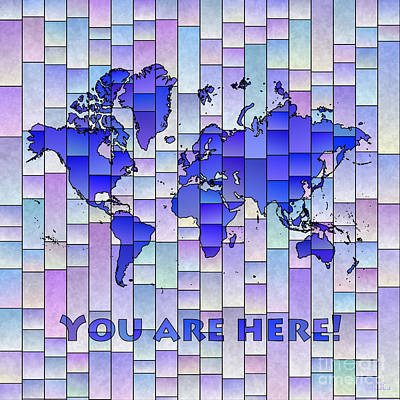 Digital Art - World Map Glasa Blue And Purple You Are Here by Eleven Corners