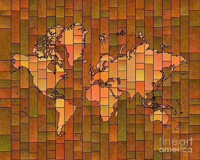World Map Glasa Brown Orange Green Art Print