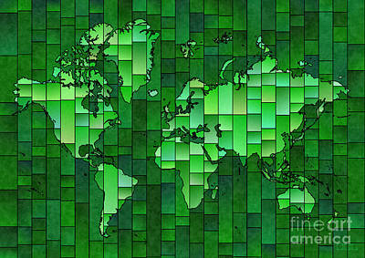 World Map Glasa Green Art Print